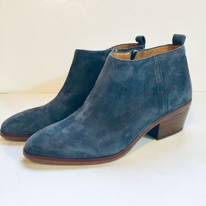 J Crew Blue Suede Leather Ankle Boots Booties Zip